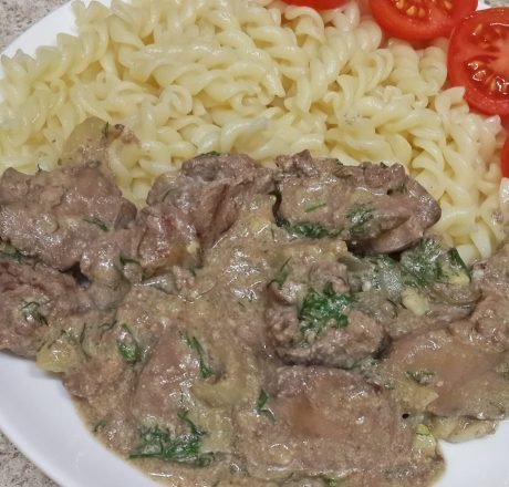 Рецепт: фрикасе из куриной печени «Сама нежность»