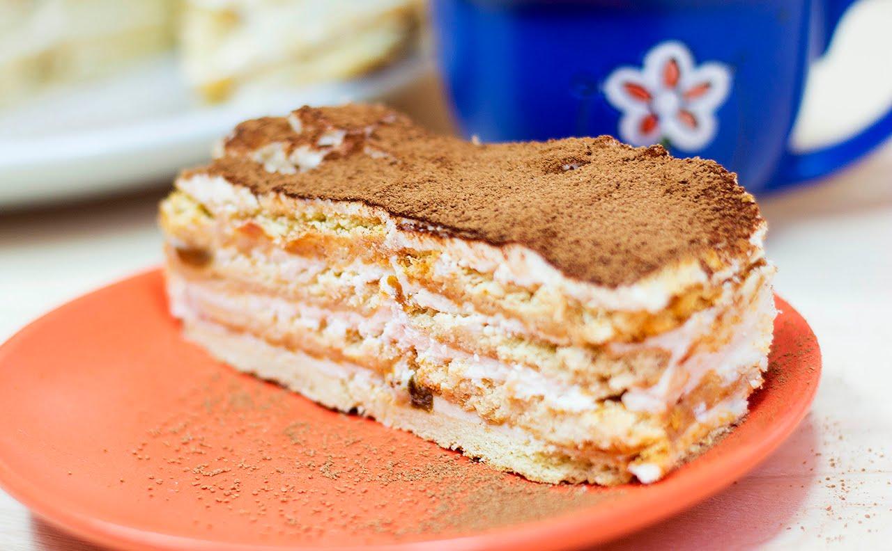 Торт без выпечки из печенья и творога рецепт — 10