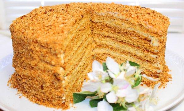 рецепты торта медовый на сковороде