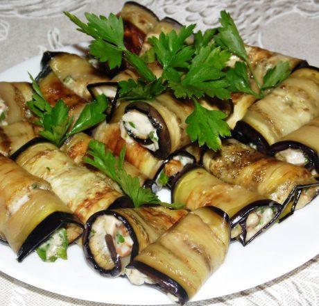 Роллы из баклажанов с ореховой начинкой