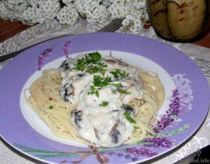 Спагетти с шампиньонами и соусом бешамель