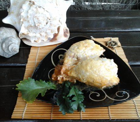 Кальмар, фаршированный грибами, рисом, яйцом, сыром