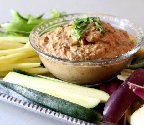 Имбирно-миндальный соус из баклажанов
