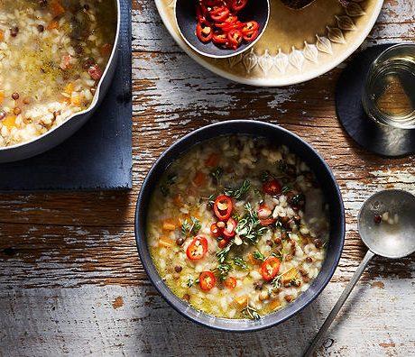 Суп из макарон и чечевицы