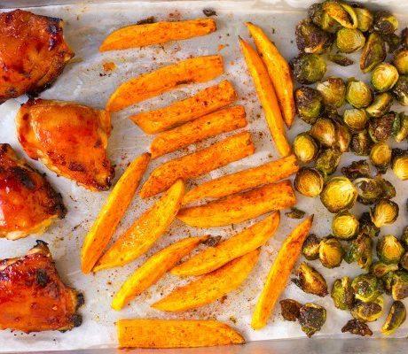 Ужин с курицей и брюссельской капустой