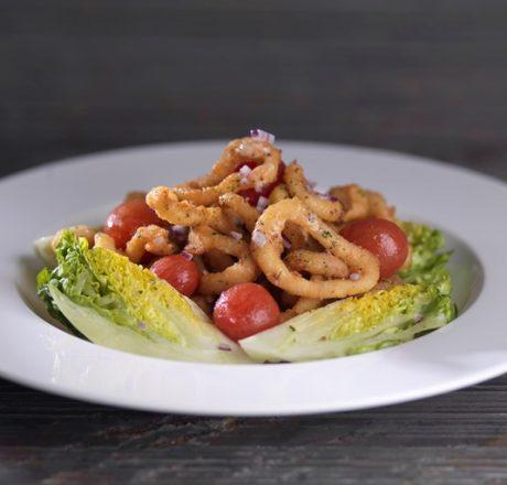 Жареные кальмары с дижонским соусом