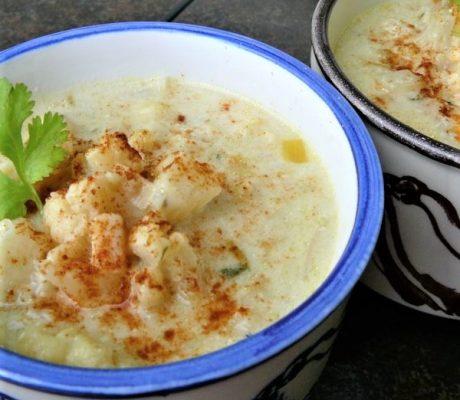 Суп с запеченной цветной капустой
